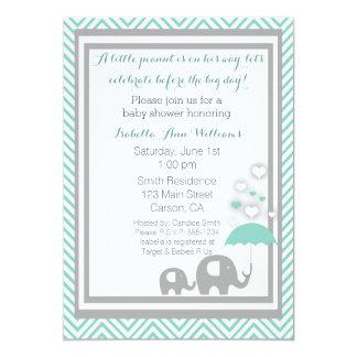 Elephant Baby Shower Invitation- Blue and Gray 13 Cm X 18 Cm Invitation Card