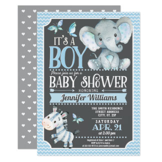 Elephant Baby Shower Invitation, Blue and Gray Card