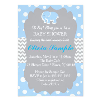 Elephant Baby Shower Invitation, Blue and Grey Card