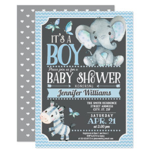 Elephant baby shower invitations announcements zazzle elephant baby shower invitation blue and grey invitation filmwisefo