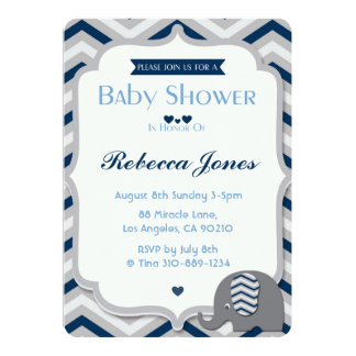 Elephant Baby Shower Invitation Boy Blue Chevron