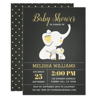 Elephant Baby Shower Invitation Chalkboard Neutral