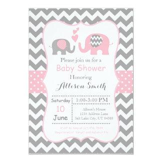 Elephant Baby shower Invitation, Chevron Card