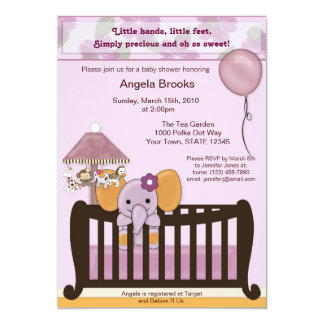 ELEPHANT Baby Shower Invitation in orchid CJE