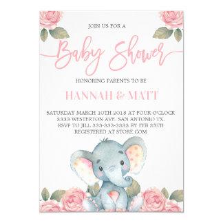 Elephant baby shower invitation pink elephant