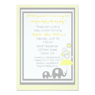 Elephant Baby Shower Invitation- Yellow and Gray 13 Cm X 18 Cm Invitation Card