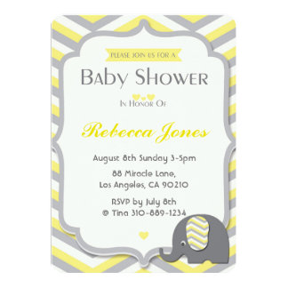 Elephant Baby Shower Invitation Yellow Chevron