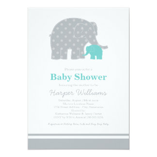 Elephant Baby Shower Invitations | Aqua Blue Gray