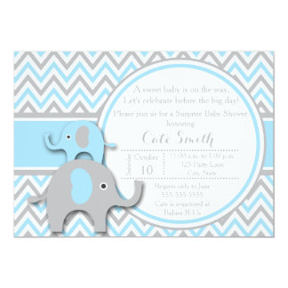 Elephant Baby Shower Invitations, Blue and Gray Card