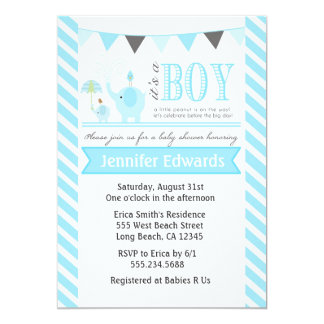 Elephant Baby Shower Invitations Boy Invites Blue