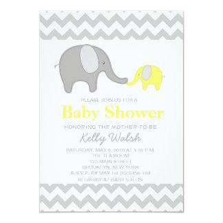 Elephant Baby Shower Invitations Chevron