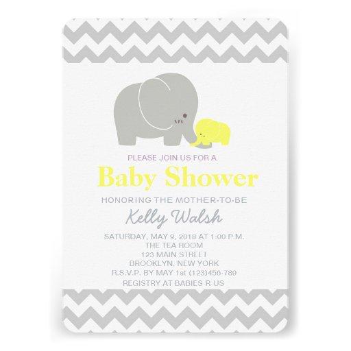 Elephant Baby Shower Invitations Chevron Cards