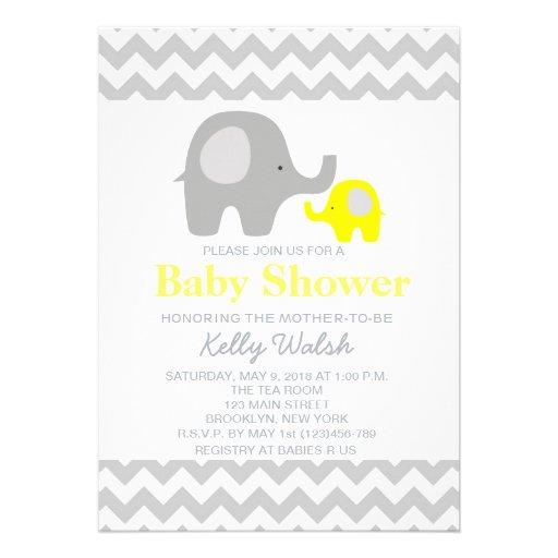 Elephant Baby Shower Invitations Chevron Custom Invitation