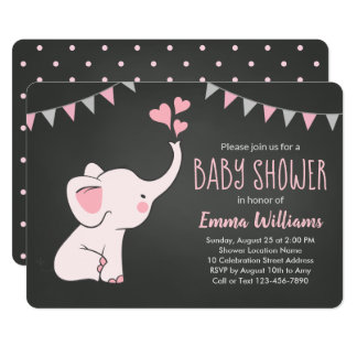 Elephant Baby Shower Invitations for Girl   Pink
