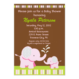 Elephant Baby Shower Invitations - Pink Girl