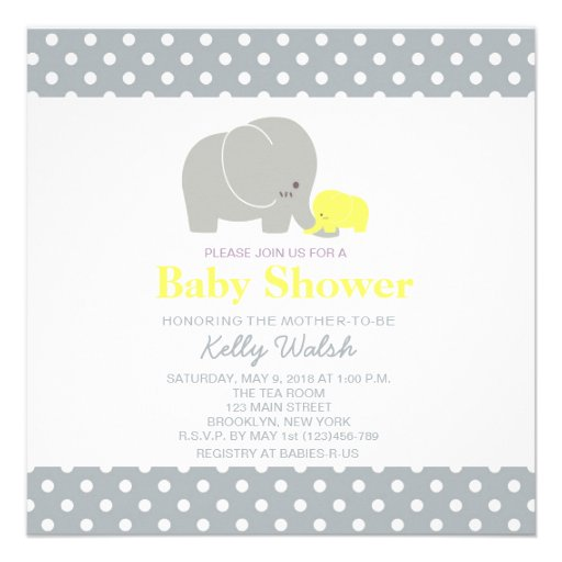 Elephant Baby Shower Invitations Yellow and Gray Custom Announcement