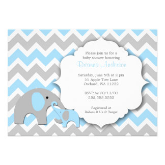 Elephant Baby Shower Invite Chevron blue gray