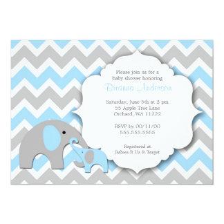"Elephant Baby Shower Invite / Chevron blue gray 5"" X 7"" Invitation Card"