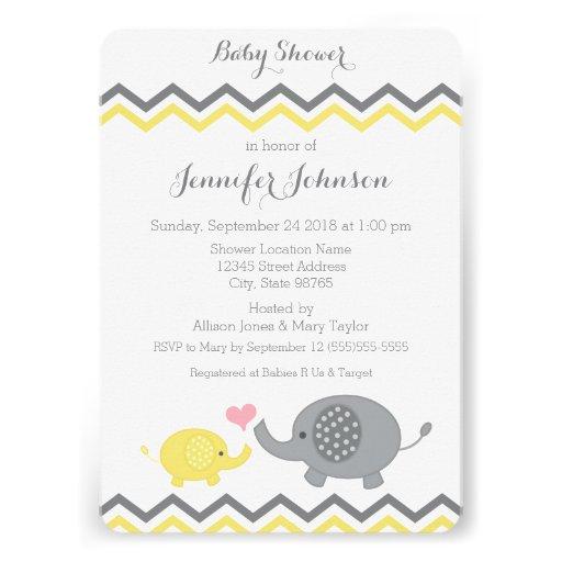 Elephant Baby Shower Invite | Yellow Gray Chevron