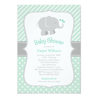 Elephant Baby Shower | Mint Green and Gray 13 Cm X 18 Cm Invitation Card