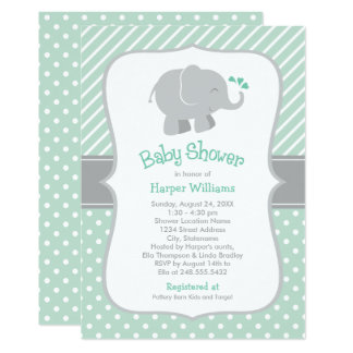 Elephant Baby Shower | Mint Green and Gray Card
