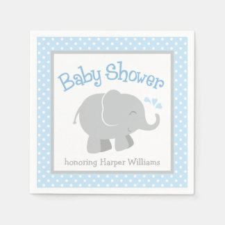 Elephant Baby Shower Napkins | Blue and Gray Paper Napkin