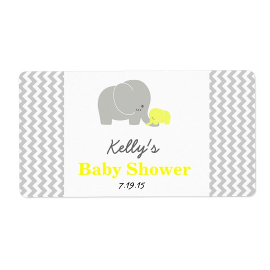 Elephant Baby Shower Personalised Favour Labels
