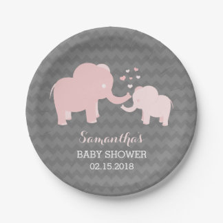 Elephant Baby Shower Pink and Grey Paper Plates