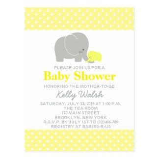Elephant Baby Shower Polka Dots Invitation Postcard