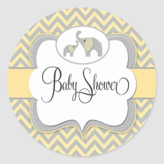 Elephant Baby Shower Sticker in Yellow Chevron