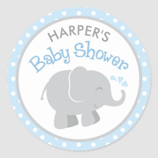 Elephant Baby Shower Stickers | Blue and Gray