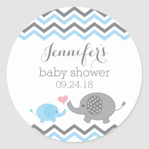 Elephant Baby Shower Stickers | Blue Gray Chevron