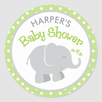 Elephant Baby Shower Stickers | Green and Gray