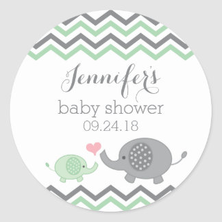Elephant Baby Shower Stickers Green Gray Chevron