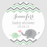 Elephant Baby Shower Stickers Green Grey Chevron