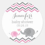 Elephant Baby Shower Stickers | Pink Grey Chevron