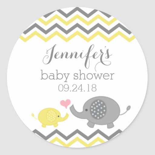 Elephant Baby Shower Stickers Yellow Gray Chevron