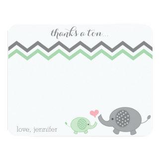 Elephant Baby Shower Thank You Green Gray Chevron Card