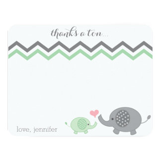 Elephant Baby Shower Thank You Green Grey Chevron 11 Cm X 14 Cm Invitation Card