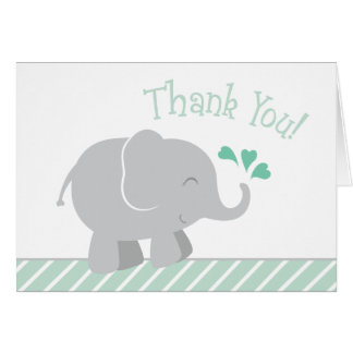 Elephant Baby Shower Thank You   Mint Green Card