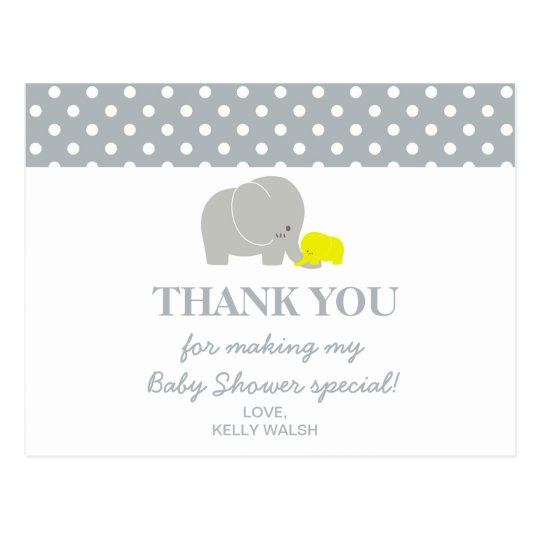 Elephant Baby Shower Thank You Note Polka Dots Postcard