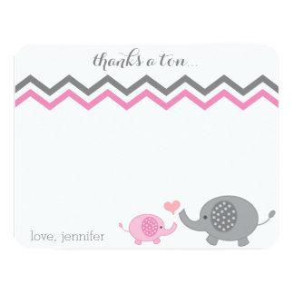 Elephant Baby Shower Thank You Pink Gray Chevron 11 Cm X 14 Cm Invitation Card