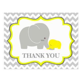 Elephant Baby Shower Thank You Postcard Chevron