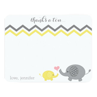 Elephant Baby Shower Thank You Yellow Gray Chevron Card