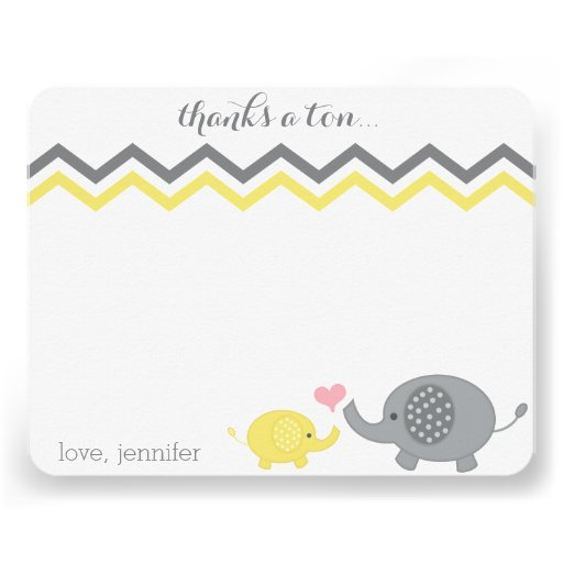 Elephant Baby Shower Thank You Yellow Gray Chevron Personalized Invite
