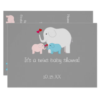 Elephant Baby Shower Twins Boy Girl Card