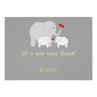 Elephant Baby Shower Twins Gender Neutral 11 Cm X 16 Cm Invitation Card