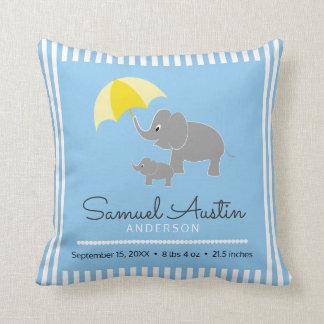 Elephant & Baby & Umbrella Baby Boy Announcement Cushion