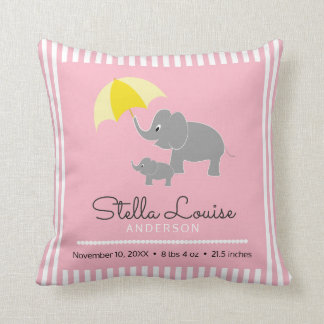 Elephant & Baby, Umbrella, Baby Girl Announcement Cushion
