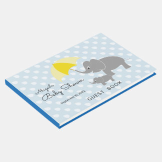 Elephant & Baby, Umbrella, Blue Baby Shower Guest Book